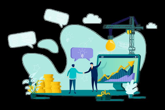 Business collaboration of businessman Illustration