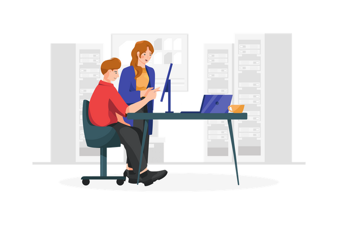 Business Colleague discussing project details watching computer screen Illustration