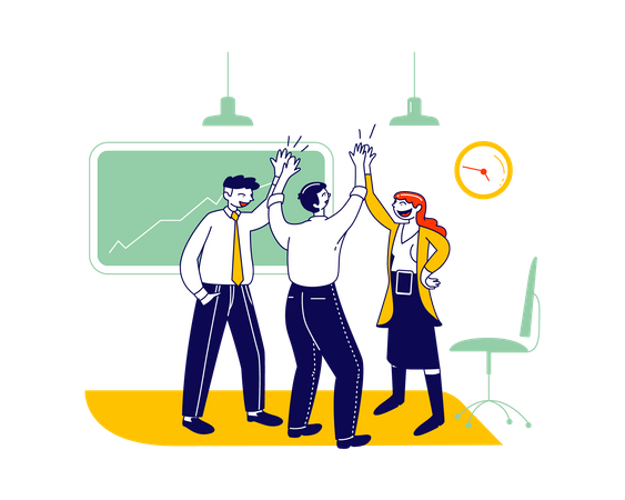 Business Colleagues Giving High-five in Office Illustration