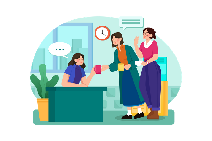 Business Collogues discussion while drinking coffee on break Illustration