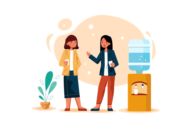 Business Collogues discussion while drinking water Illustration
