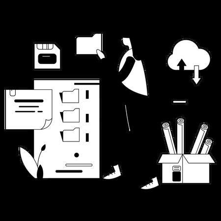 Business data cloud storage Illustration