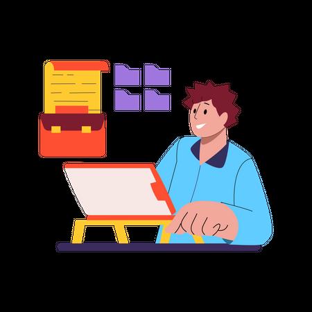 Business data storage Illustration