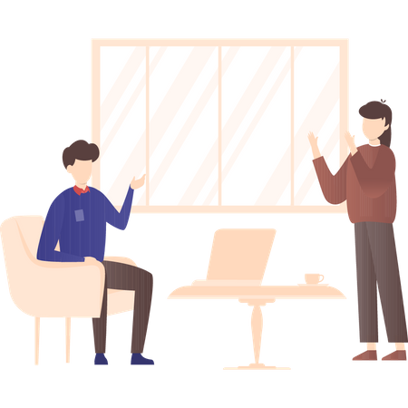 Business discussion by manager and employee Illustration