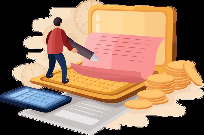 Business E-signature technology Illustration