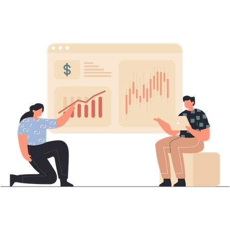 Business employee discussing about growth Illustration