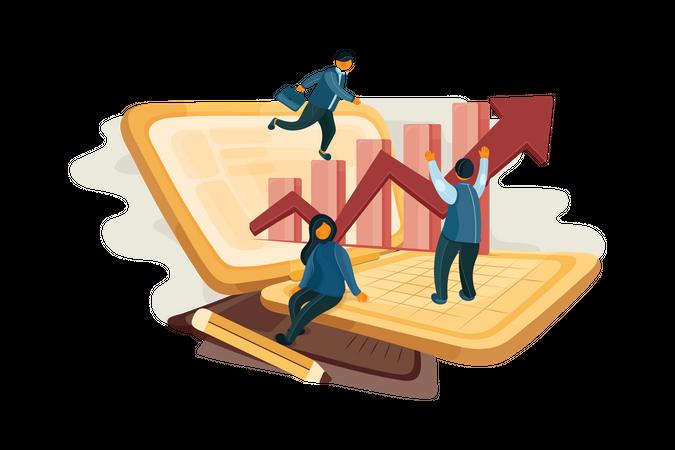 Business employee doing share trading Illustration
