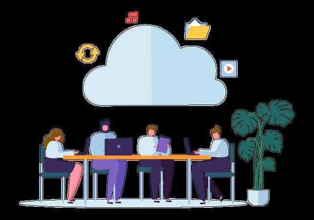 Business employee Sharing Data Illustration