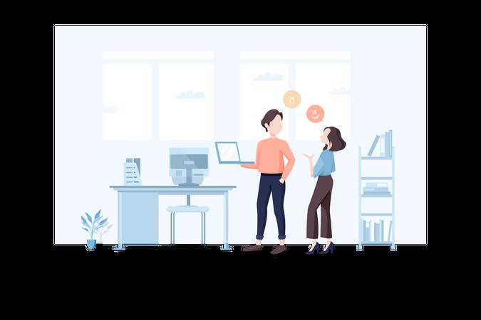 Business employee talking in office Illustration