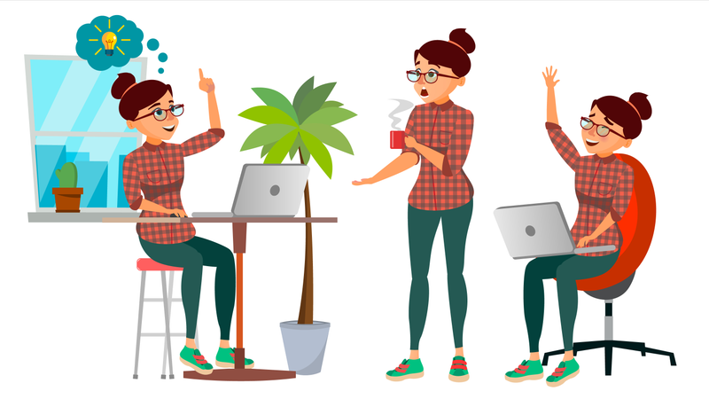Business Employee Working In Office Illustration