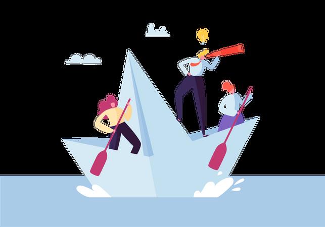 Business employees doing teamwork Illustration