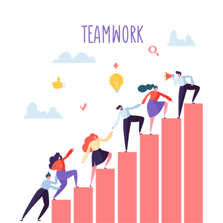 Business employees working together - teamwork concept Illustration