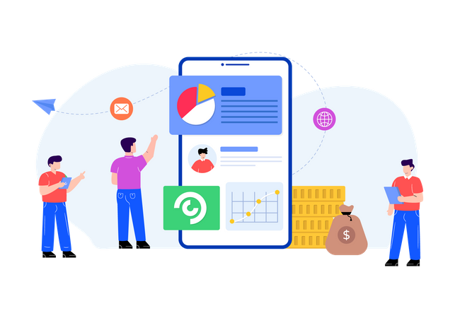 Business financial application Illustration