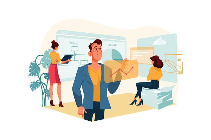 Business growth analysis workflow Illustration