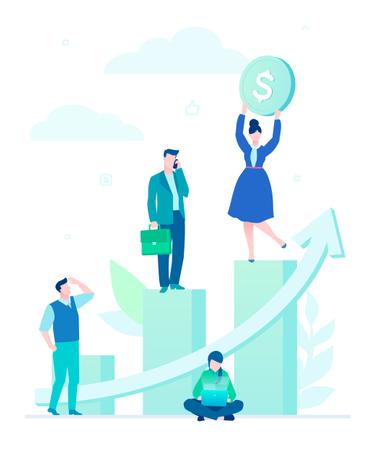 Business Growth - Flat Design Style Colorful Illustration Illustration