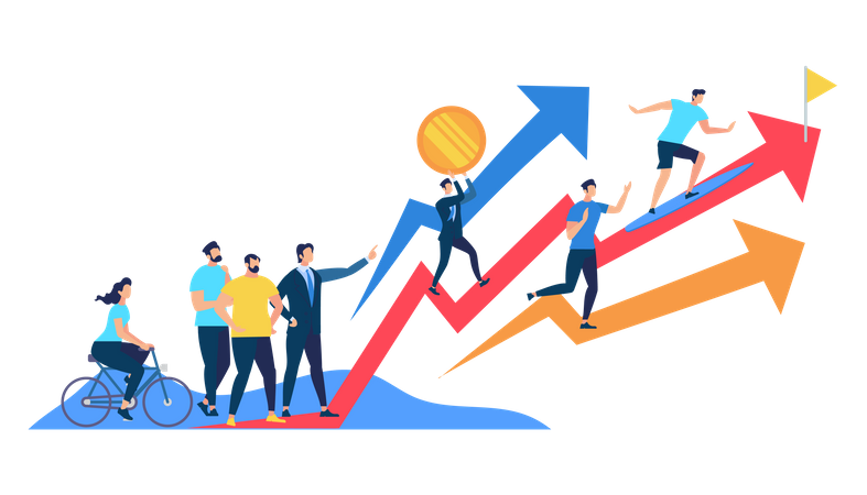 Business growth with business team Illustration
