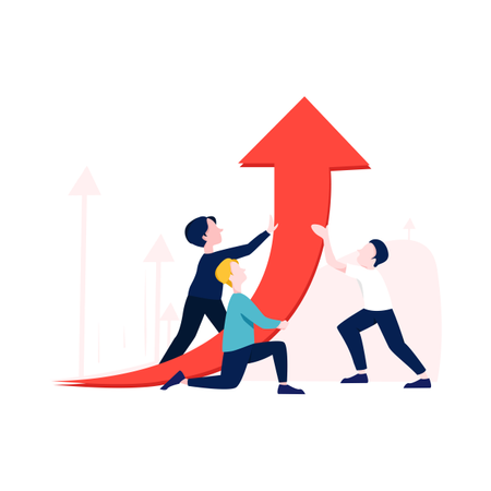 Business growth with help of employee Illustration