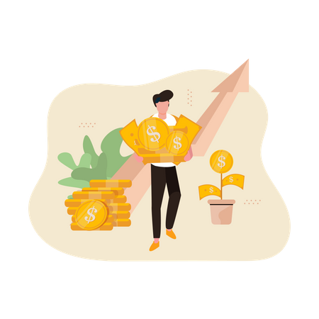 Business growth with help of investment Illustration