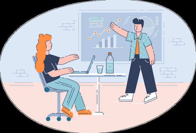 Business head explaining company goal Illustration