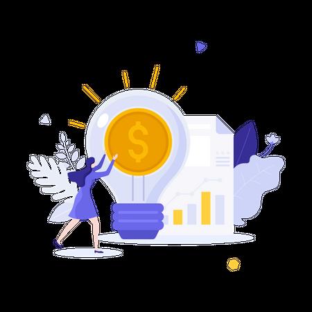 Business increasing profit Illustration