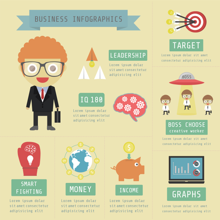 Business Infographic, Money, Financial, Marketing, Flat And Pastel Style Illustration