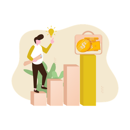 Business Invesment Target and Step to Success Illustration