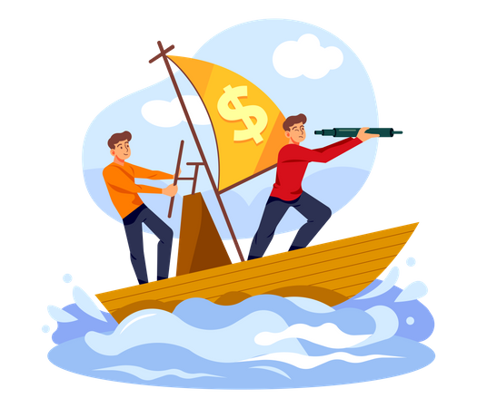 Business investor finding investment opportunity Illustration