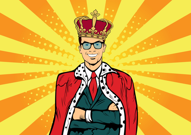 Business king. Businessman with crown. Man leader, success boss, human ego. Vector retro pop art comic drown illustration. Illustration