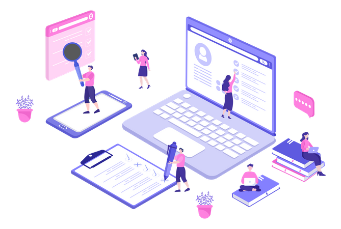 Business lady giving task to different employee profile Illustration