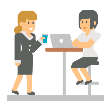 Business Lady talking with working lady while holding cup Illustration