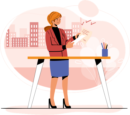 Business lady working on project Illustration
