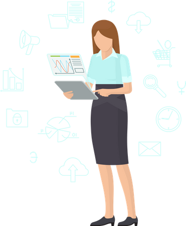 Business lady working with tablet Illustration