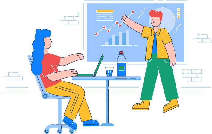 Business Lead giving presentation on company strategy Illustration