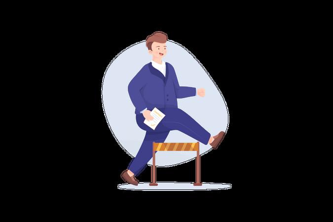 Business leader ignore problems concept Illustration