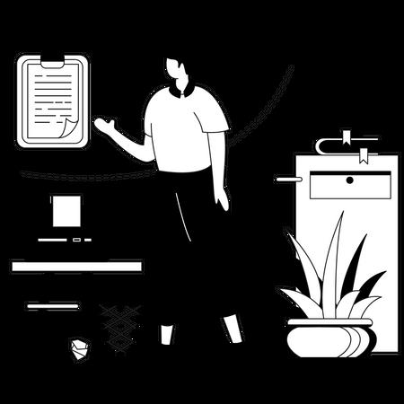 Business leader setting business target Illustration