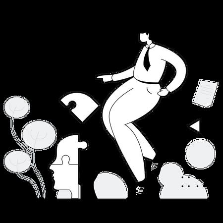 Business leader solving problem creatively Illustration