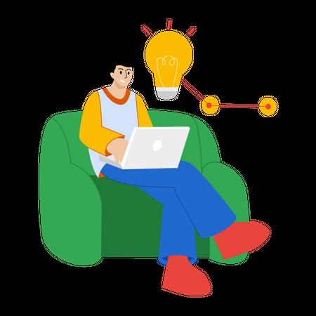 Business leader thinking business Idea Illustration