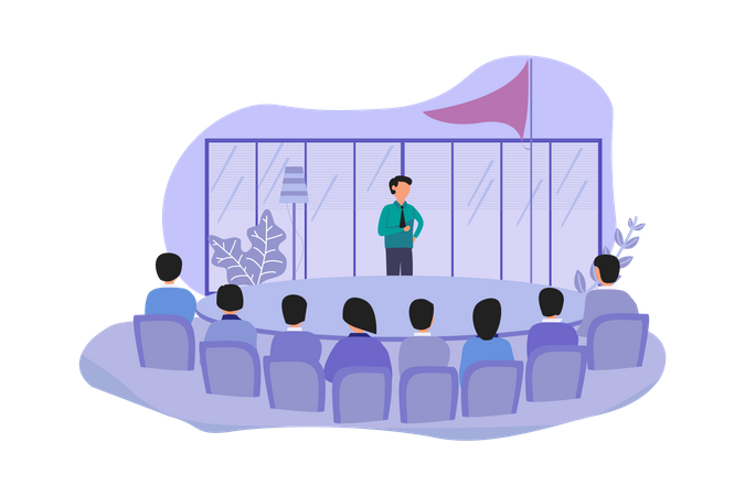 Business Leaders conducting meeting Illustration