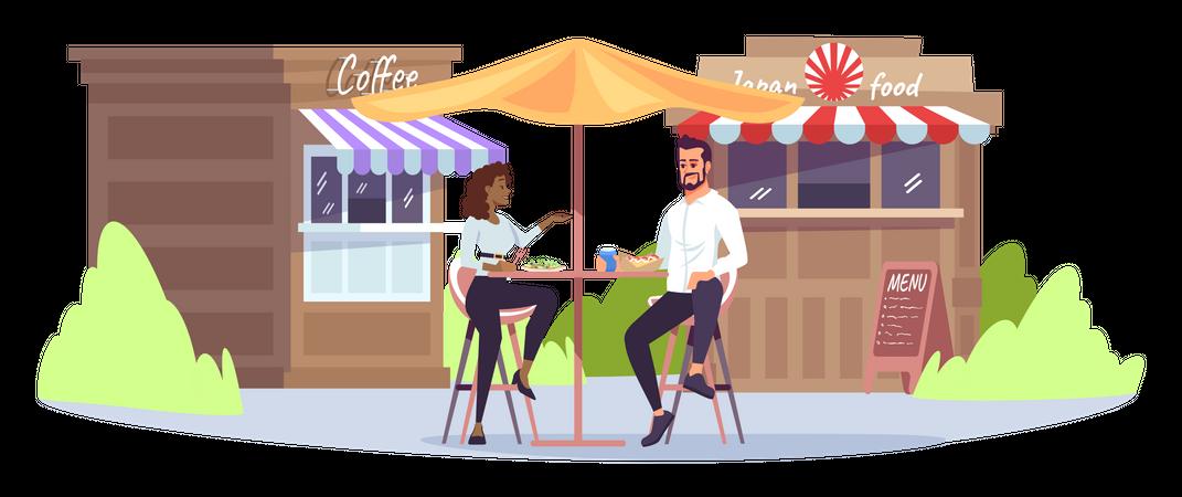 Business lunch at park cafe Illustration