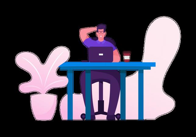 Business Man at Desk Work Hard Analyzing Project Illustration