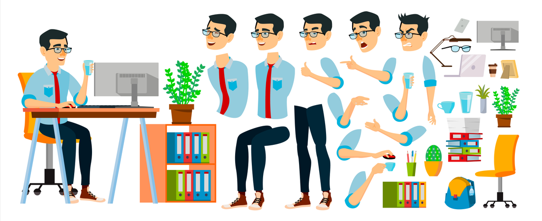 Business Man Character Different Body Parts Used In Animation Illustration