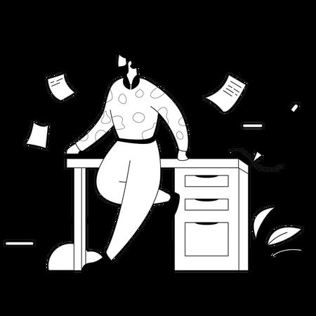 Business man doing paperwork Illustration