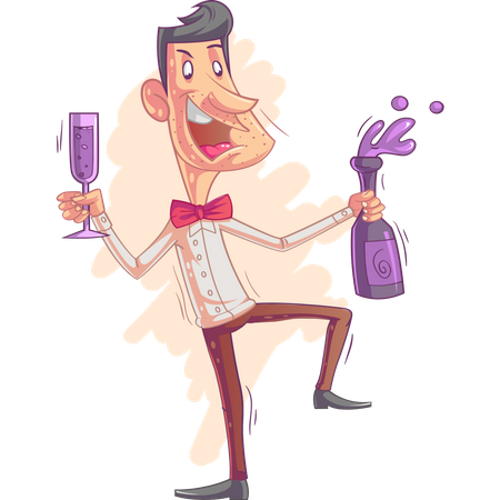 Business man in party Illustration