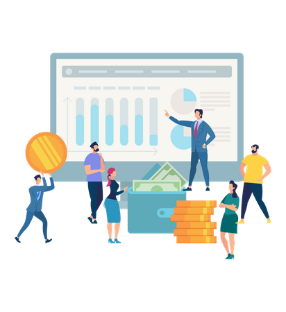 Business Man in Suit Presenting online investment Graphs and Charts Illustration