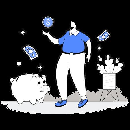 Business man savings money Illustration