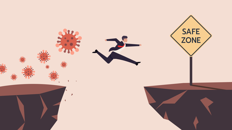 Business Man SMEs Runaway Covid-19, Coronavirus Crisis Jumping Through The Gap Obstacles of Cliff Edge to Safe zone Illustration