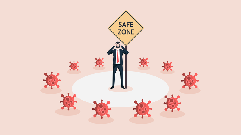 Business Man Stand in Safe Zone Surrounded by Covid-19 Coronavirus Crisis Illustration