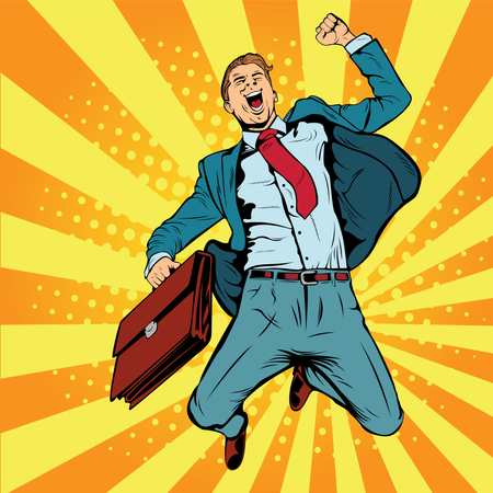 Business man the winner pop art retro vector illustration. Successful businessman jumping for joy. Joyful man with briefcase of money and documents. Illustration