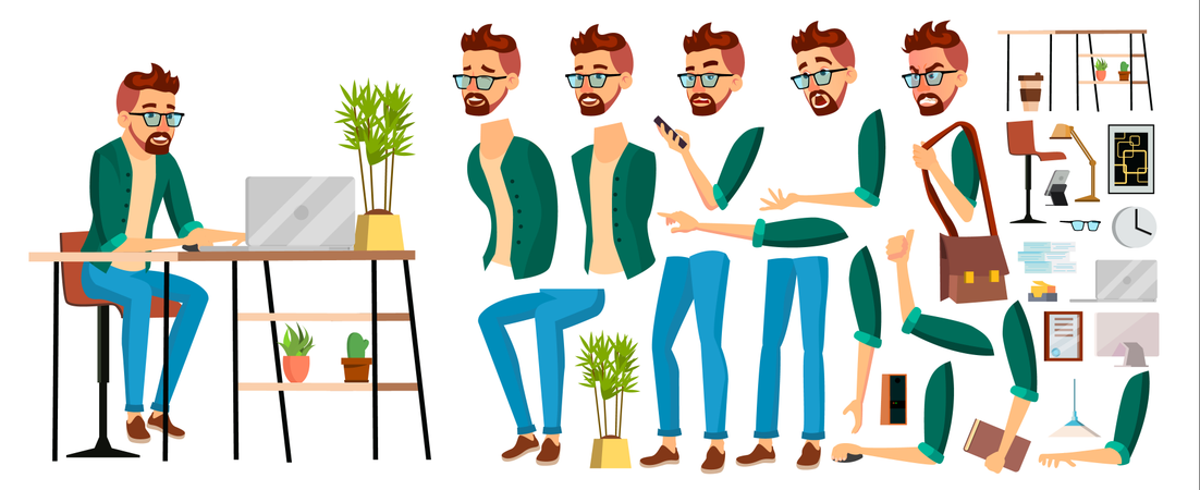 Business Man Worker Body Parts Illustration