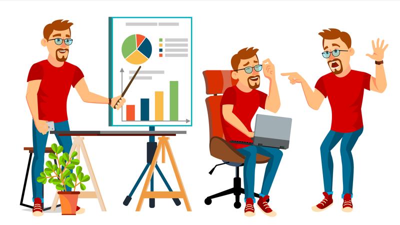 Business Man Working Gesture Illustration